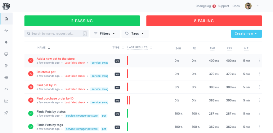 screenshot of checkly checks - with failures