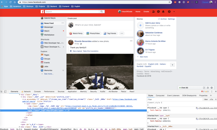 Facebook's paga modifications with DevTools Override Feature