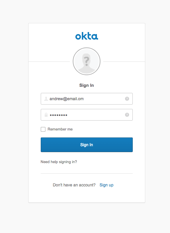 Okta Login screenshot