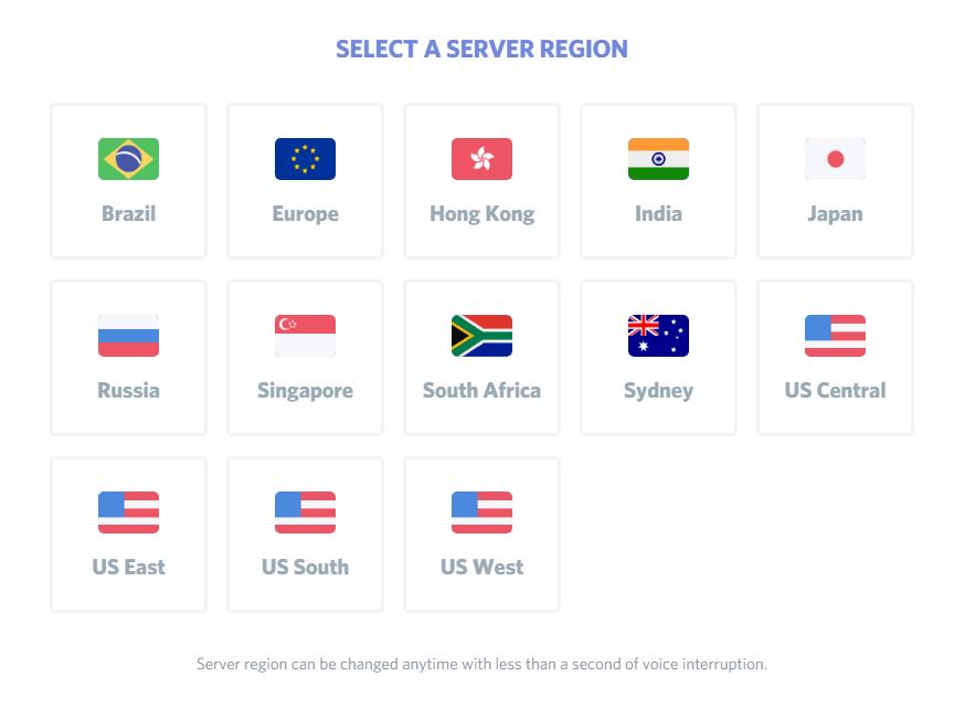 Server region selector