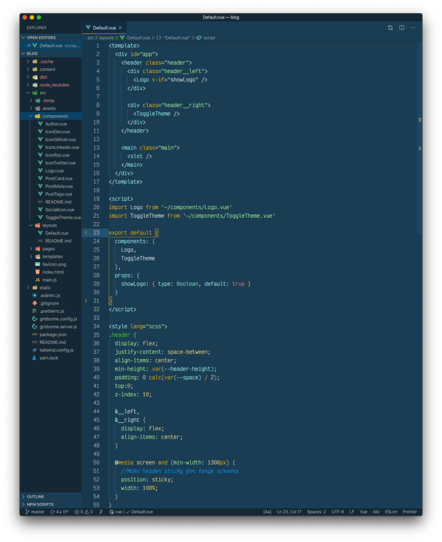 A Vue.js file with the cobalt2 theme active