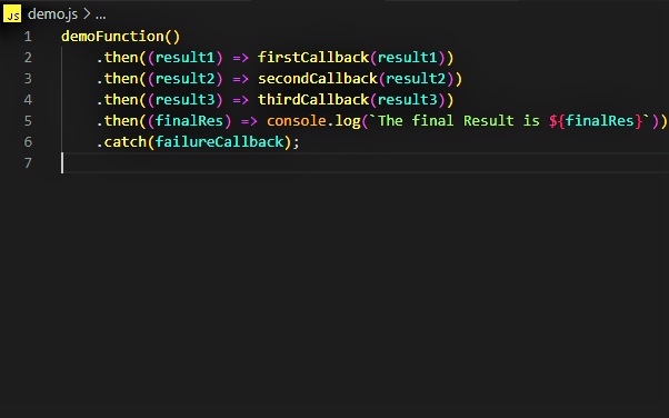 A Promise chain instead of nested callbacks