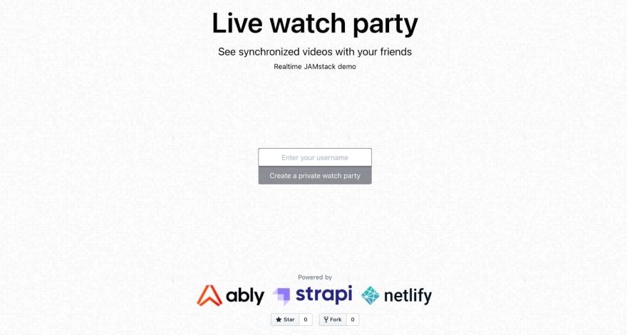 Watch party homepage