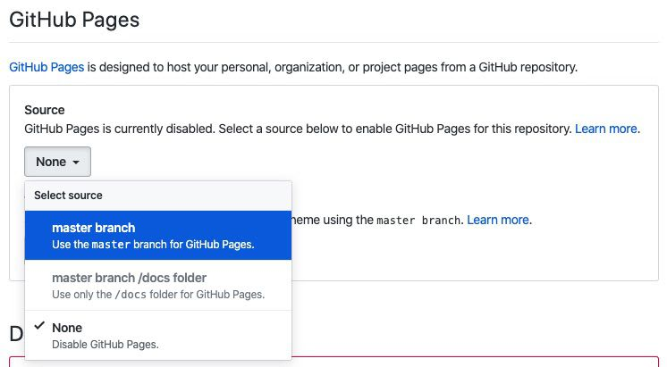 menu to update Github Pages settings to use master branch