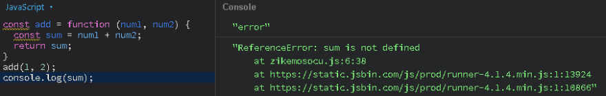 Attempt of logging a const outside of its lexical scope