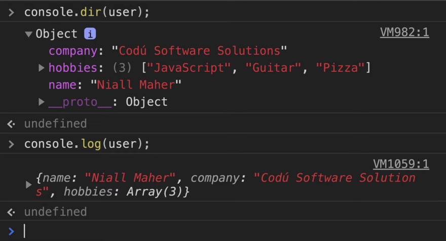 Showing the difference of a logged object in console.dir versus console.log