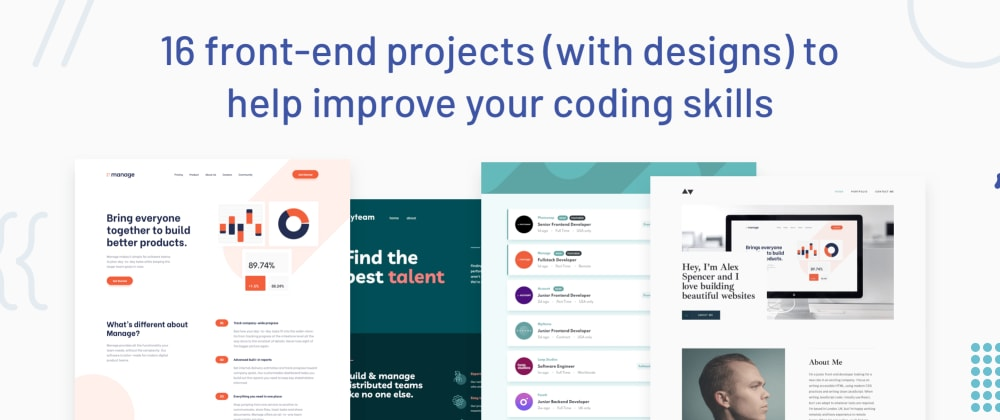 Cover image for 16 front-end projects (with designs) to help improve your coding skills