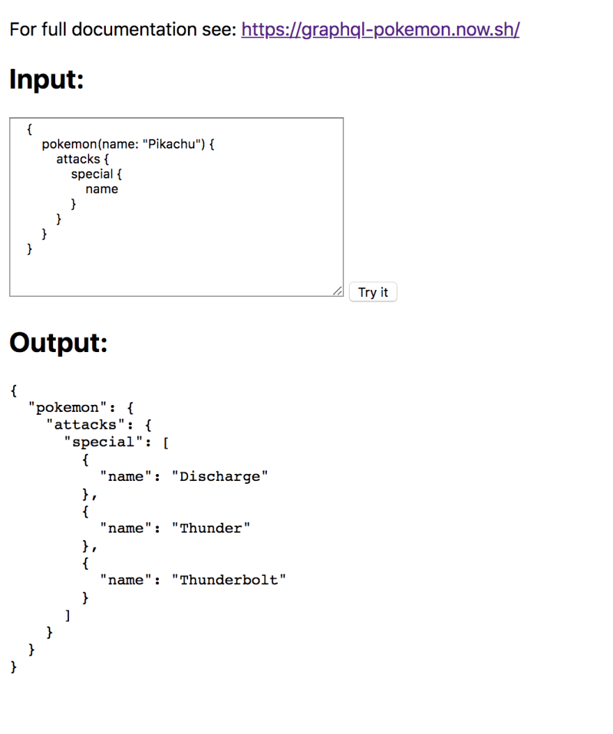 Sample GraphQL query result displayed in the browser