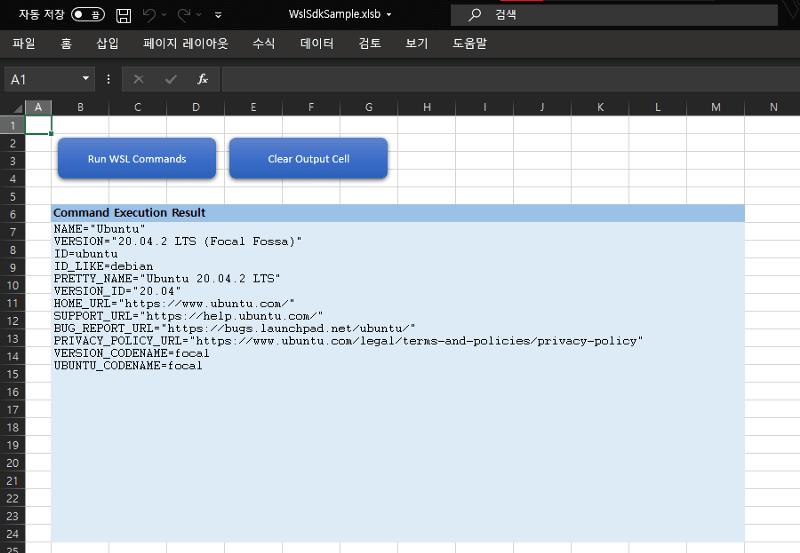 Running WSL SDK via Excel with VBA