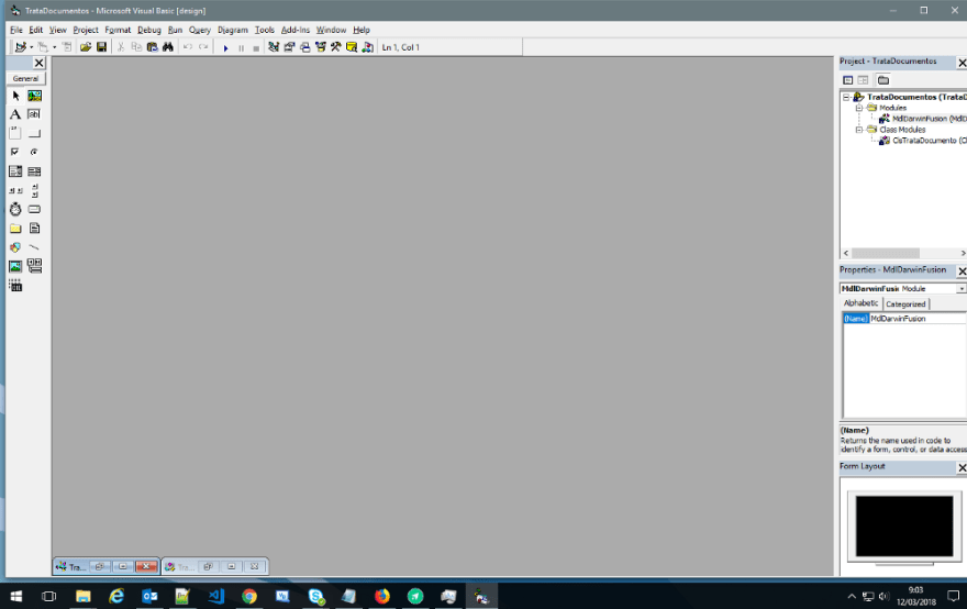 The Visual Studio 6 main screen