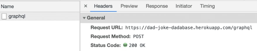 The Network tab shows a request is being made to the /graphql endpoint now