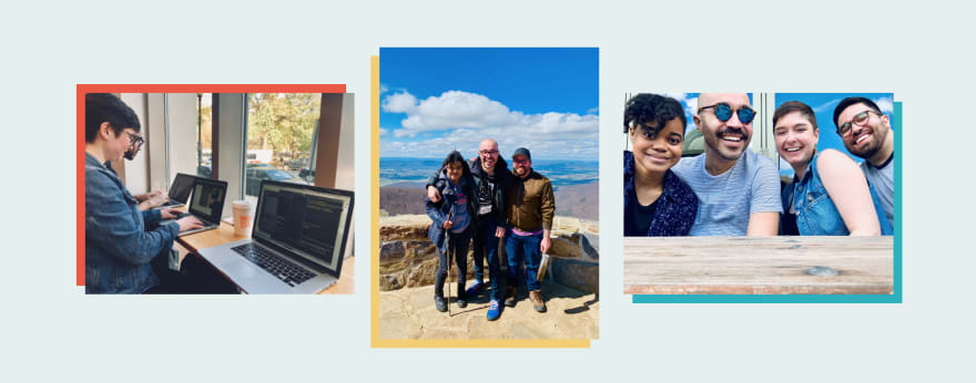 'Three images of the team, one at a coffee shop looking at laptops, one of three team members posing on a mountain top in Virginia, one of four team members sitting at a picnic table'