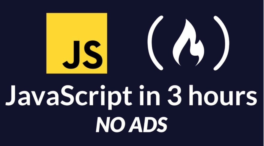 Graphic says learn JS in three hours. No ads.