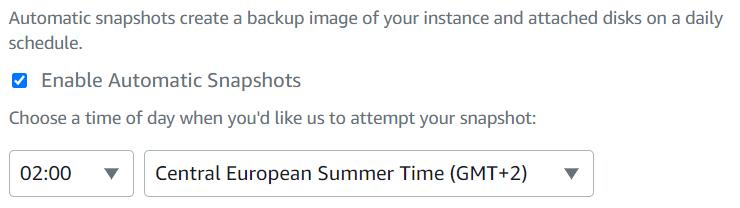 Enable automatic snapshots