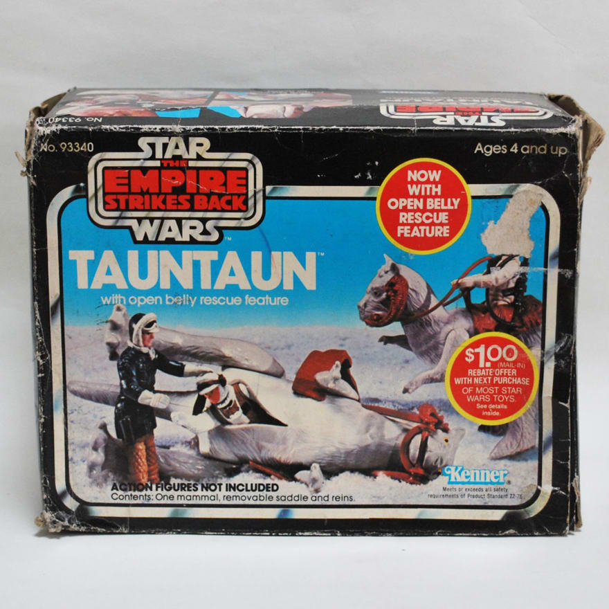 Toy figure of tauntaun with luke skywalker inside
