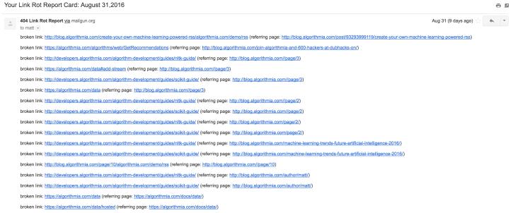 Broken Link Report Email