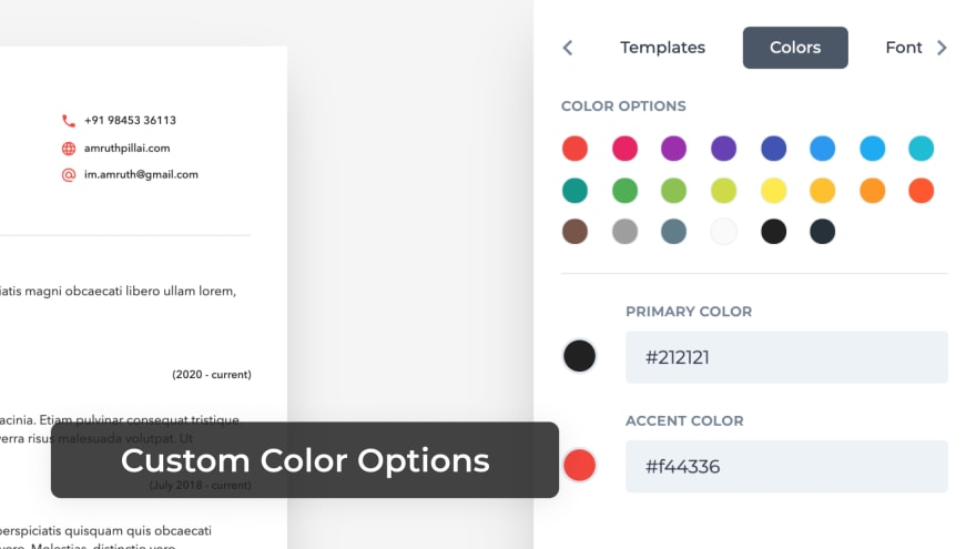 Custom Color Options