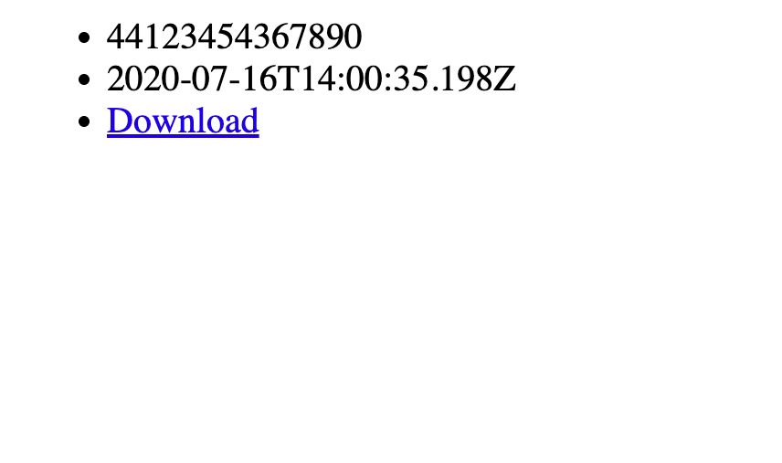 A page showing a phone number, timestamp, and download link