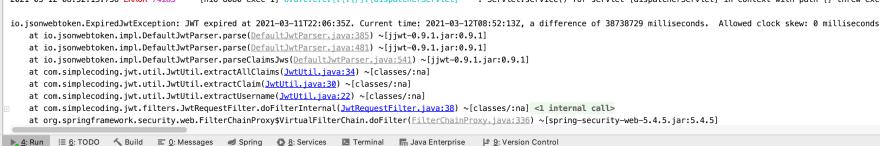JWT expired error