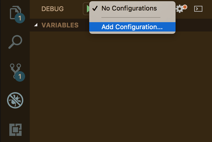 selecting 'Add Configuration in the debug view'