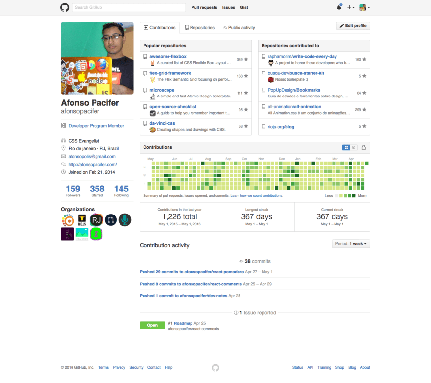My github profile with 367 days of coding