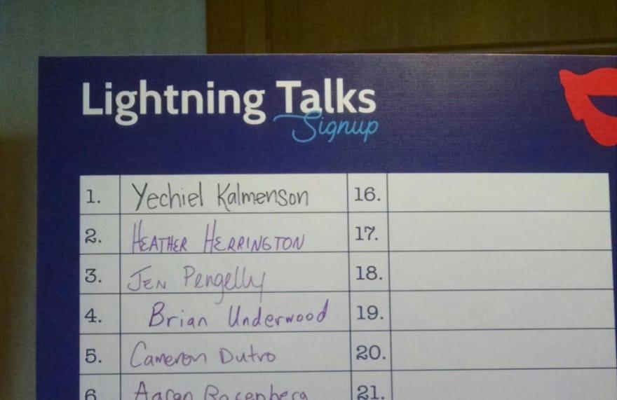 My name on the list of lightning talk speakers