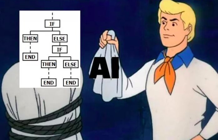 """Screenshot from the TV show Scooby Doo showing a character removing the mask from a person. The mask says """"AI"""" and the face it reveals is a bunch of if statements"""
