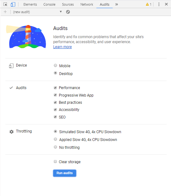 Setting up Audit on Google Chrome
