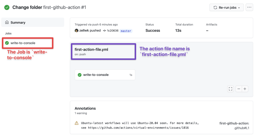 job and action file name