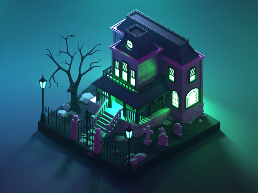 happy halloween haunted 3D house with birds eye view and green lighting the windows eerily