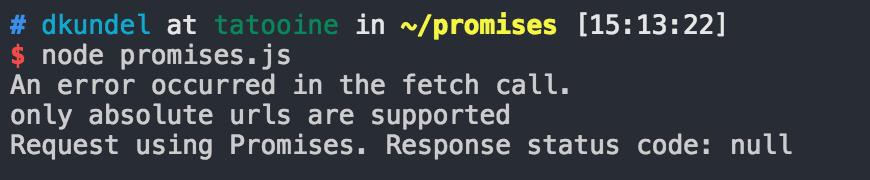 Screenshot of Terminal with error message