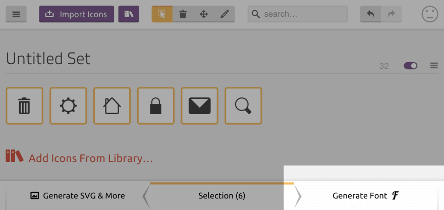 Generating an icon font in IcoMoon