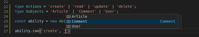 CASL Typescript VSCode hints