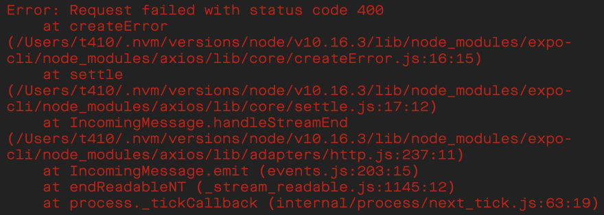 expo cli error message