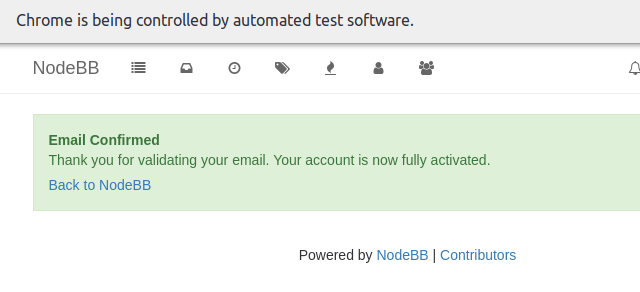 Test results in browser