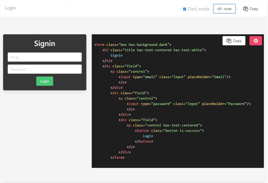 Bulma CSS - Login Box Component.
