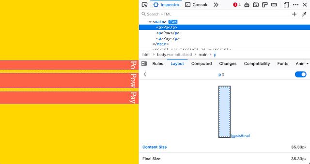 Firefox Flex inspector overlay on a vertical layout
