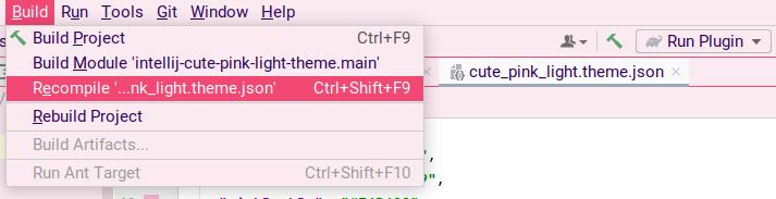 Screenshot: build menu entry to recompile json file