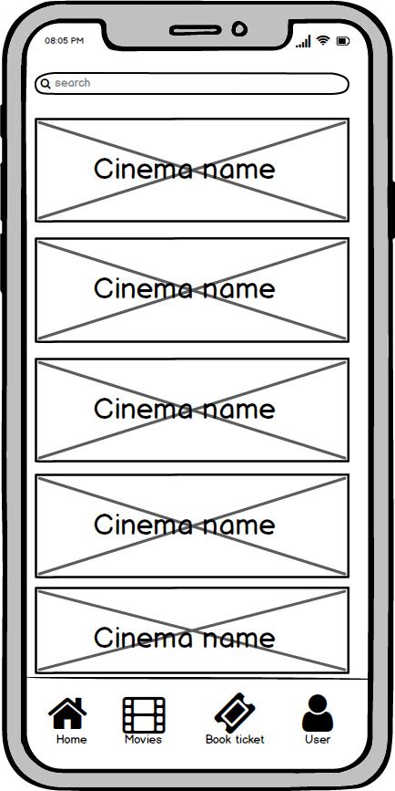 cinema screen wireframe kino app