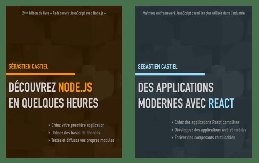 Book « Découvrez Node.js en quelques heures » and « Des applications modernes avec React »