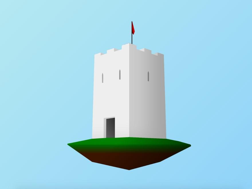 Illustration of a floating castle