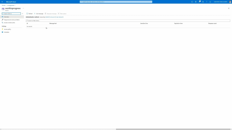 Screenshot showing zero messages contained in the Azure Storage Queue