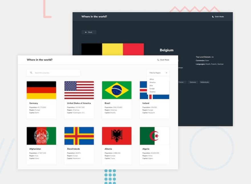 Design preview for the REST Countries API with color theme switcher challenge
