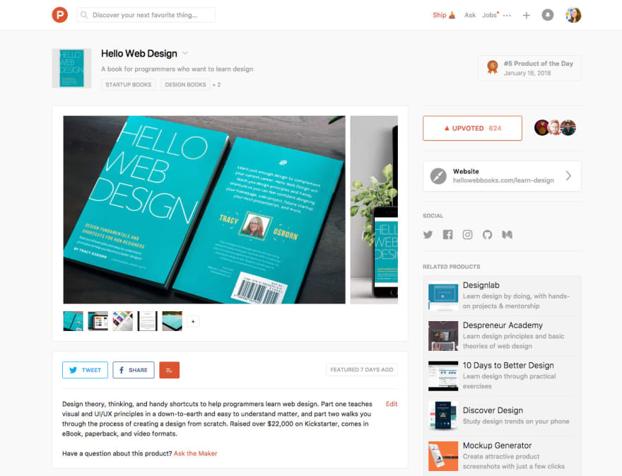 Hello Web Design on Product Hunt