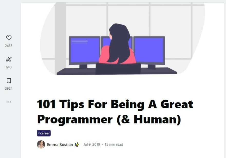 """Screenshot of the header for the article """"101 tips for being a great programmer"""""""