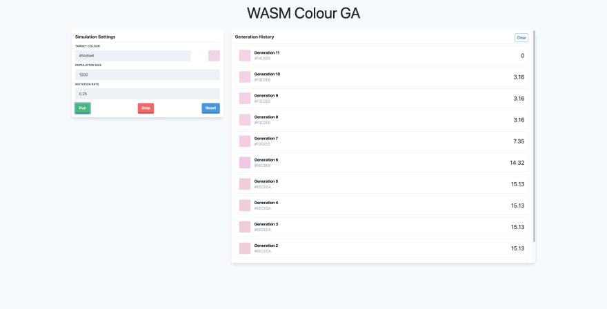 Screenshot of Rust WASM genetic algorithm simulator