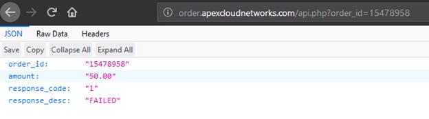 JSON order response