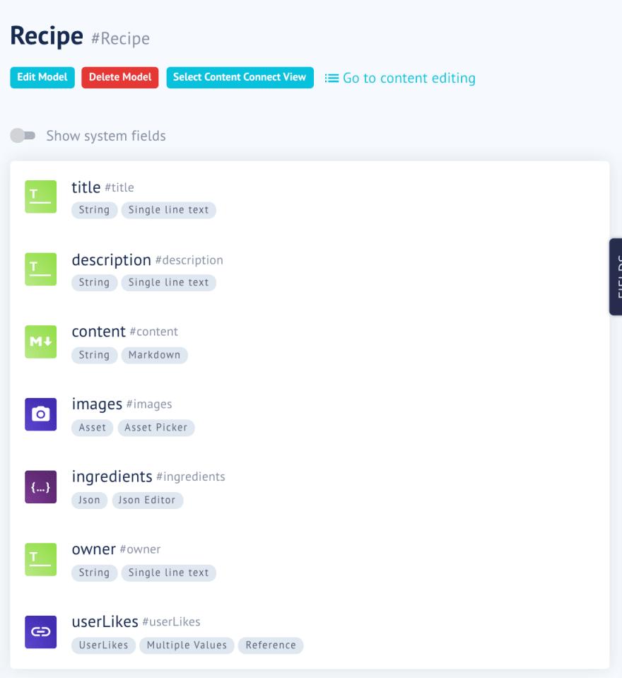Recipe Model in GraphCMS
