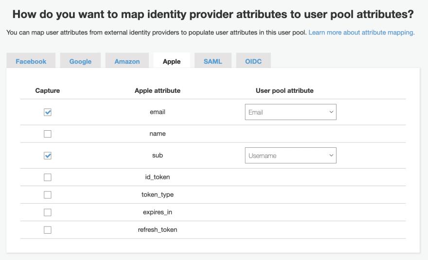 Cognito Attribute mapping