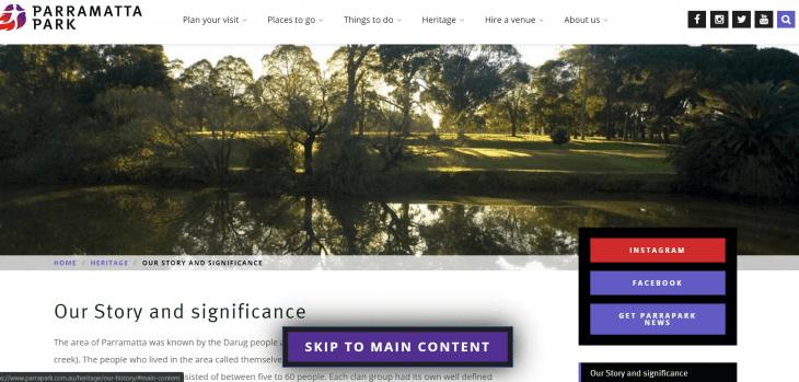 """Skip to Main Content"" Button on the Parramatta Park Website"